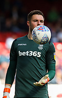 Stoke City's Jack Butland reacts<br /> <br /> Photographer Alex Dodd/CameraSport<br /> <br /> The EFL Sky Bet Championship - Blackburn Rovers v Stoke City - Saturday 6th April 2019 - Ewood Park - Blackburn<br /> <br /> World Copyright © 2019 CameraSport. All rights reserved. 43 Linden Ave. Countesthorpe. Leicester. England. LE8 5PG - Tel: +44 (0) 116 277 4147 - admin@camerasport.com - www.camerasport.com