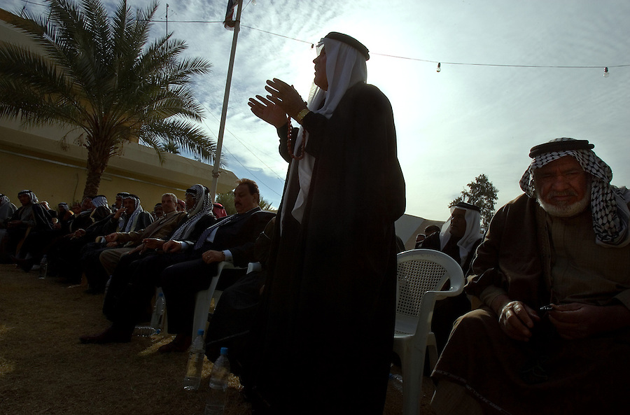 Col.  Sutherland, commanding officer of the 1st Cavalry Division's 3rd Heavy Brigade Combat Team which is stationed in Diyala Province, northeast of Baghdad, meets with dozens of tribal sheikhs from the area surrounding the provincial capital, Baquba on Sat. Dec. 2, 2006. The meeting was primarily attended by Sunni tribal leaders, though the province is populated by both Sunnis and Shiites, as well as Kurds. The Sunnis are feeling increasingly threatened by the Shiite militants and a Shiite dominated provincial-government.<br />