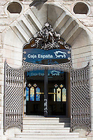 Caja Espana Bank of Spain savings bank in Casa Botines designed by architect Antoni Gaud in Leon, Castilla y Leon, Spain