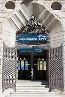 Caja Espana Bank of Spain savings bank in Casa Botines designed by architect Antoni Gaud in Leon, Castilla y Leon, Spain