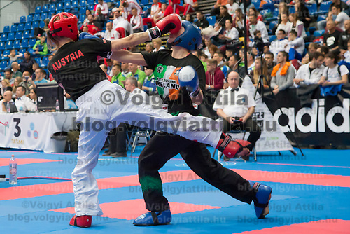 Gold medalist Shauna Bannon (R) of Ireland and silver medalist  Sonja Stacher (L) of Austriafight in the 2 LC 040 S F -55 kg final at the WAKO (World Association of Kickboxing Organizations) World Kick-boxing Championships in Budapest, Hungary on Nov. 10, 2017. ATTILA VOLGYI