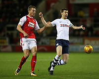 Rotherham United's Michael Smith fouls Preston North End's Paul Gallagher<br /> <br /> Photographer David Shipman/CameraSport<br /> <br /> The EFL Sky Bet Championship - Rotherham United v Preston North End - Tuesday 1st January 2019 - New York Stadium - Rotherham<br /> <br /> World Copyright © 2019 CameraSport. All rights reserved. 43 Linden Ave. Countesthorpe. Leicester. England. LE8 5PG - Tel: +44 (0) 116 277 4147 - admin@camerasport.com - www.camerasport.com