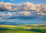The Palouse, Whitman County, Washington: Clearing storm clouds over the rolling wheat fileds of the Palouse from Steptoe Butte State Park.