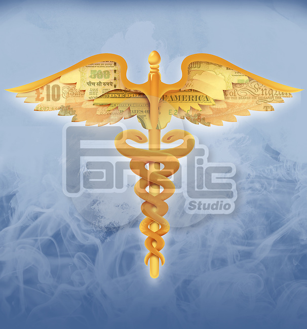 Illustrative image of caduceus symbol with currency wings representing medical cost