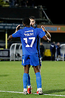 GOAL - Michael Folivi of AFC Wimbledon and Callum Reilly celebrate the goal during the The Leasing.com Trophy match between AFC Wimbledon and Leyton Orient at the Cherry Red Records Stadium, Kingston, England on 8 October 2019. Photo by Carlton Myrie / PRiME Media Images.