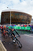 Picture by Alex Whitehead/SWpix.com - 10/09/2017 - Cycling - OVO Energy Tour of Britain - Stage 8, Worcester to Cardiff - Team Sky's Owain Doull rides past the Millennium Centre near the stage finish in Cardiff.
