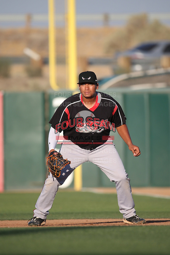 Josh Naylor (32) of the Lake Elsinore Storm in the field at first base during a game against the Lancaster JetHawks at The Hanger on August 2, 2016 in Lancaster, California. Lake Elsinore defeated Lancaster, 10-9. (Larry Goren/Four Seam Images)