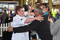 Melbourne, 30 May 2017 - Michael Cole and Laura Skvor of the Georgie Bass Cafe & Cookery in Flinders celebrate after winning the Australian selection trials of the Bocuse d'Or culinary competition held during the Food Service Australia show at the Royal Exhibition Building in Melbourne, Australia. Photo Sydney Low