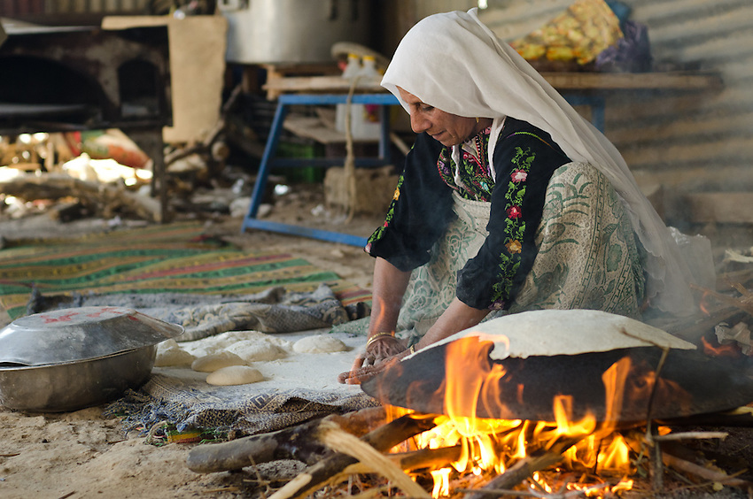 Sarah Elsana, from Lakiya village, makes tradition bedouin bread.