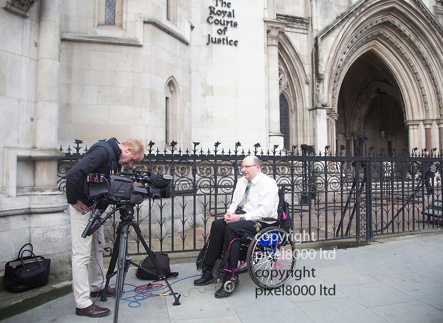Pic shows:<br /> Doug Paulley <br /> At the High Court in London today 11.11.14<br /> <br /> First Bus has today launched an appeal in the High Court against a ruling brought by Wetherby man Doug Paulley.<br /> <br /> The wheelchair user won &pound;5,500 after he missed a bus to Leeds station after a mother refused to move her pushchair as it would wake her baby and there was then no room for Mr Paulley.<br /> <br /> The driver also refused to intervene because the company&rsquo;s policy of first come, first served did not allow him to force a customer to give up the space.<br /> <br /> In September 2013 a judge at Leeds Crown Court ruled that the incident was unlawful discrimination in breach of the Equality Act 2010 and ordered First Bus to change its policy.<br /> <br /> First Bus are hoping to overturn the ruling this week.<br /> <br /> <br /> <br /> <br /> <br /> Pic by Gavin Rodgers/Pixel 8000 Ltd