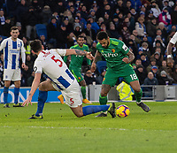 Watford's Andre Gray (right) battles past Brighton & Hove Albion's Lewis Dunk <br /> <br /> Photographer David Horton/CameraSport<br /> <br /> The Premier League - Brighton and Hove Albion v Watford - Saturday 2nd February 2019 - The Amex Stadium - Brighton<br /> <br /> World Copyright © 2019 CameraSport. All rights reserved. 43 Linden Ave. Countesthorpe. Leicester. England. LE8 5PG - Tel: +44 (0) 116 277 4147 - admin@camerasport.com - www.camerasport.com