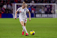 5th March 2020, Orlando, Florida, USA;  England defender Leah Williamson (14) passes the ball during the SheBelieves Cup match between England and the USA on March 5, 2020, at Exploria Stadium in Orlando FL.