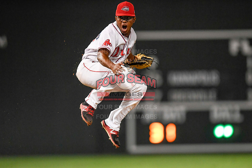 Closer Juan Florentino (37) of the Greenville Drive jumps for joy after securing the final out in an 8-3 win over the Kannapolis Intimidators to earn the 2017 South Atlantic League Championship in Game 4 of the Championship Series on Friday, September 15, 2017, at Fluor Field at the West End in Greenville, South Carolina. It was Greenville's first SAL Championship. Greenville won the series 3-1. (Tom Priddy/Four Seam Images)