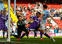 Blackburn Rovers's Ben Brereton shoots at goal but Stoke City's Jack Butland saves<br /> <br /> Photographer Alex Dodd/CameraSport<br /> <br /> The EFL Sky Bet Championship - Blackburn Rovers v Stoke City - Saturday 6th April 2019 - Ewood Park - Blackburn<br /> <br /> World Copyright © 2019 CameraSport. All rights reserved. 43 Linden Ave. Countesthorpe. Leicester. England. LE8 5PG - Tel: +44 (0) 116 277 4147 - admin@camerasport.com - www.camerasport.com