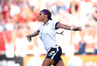Sydney Leroux (2) of the USWNT celebrates her goal during an international friendly at the Florida Citrus Bowl in Orlando, FL.  The USWNT defeated Brazil, 4-1.
