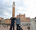 World Champions Peter Sagan (SVK) Bora-Hansgrohe and Amalie Dideriksen (DEN) Boels-Dolmans pictured before their press conference in Piazza del Campo, Siena, Tuscany, Italy 3rd March 2017.<br /> Picture: LaPresse/Gian Mattia D'Alberto | Newsfile<br /> <br /> <br /> All photos usage must carry mandatory copyright credit (&copy; Newsfile | LaPresse/Gian Mattia D'Alberto)