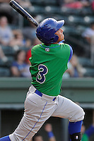 Third baseman Mauricio Ramos (3) of the Lexington Legends in a game against the Greenville Drive on Wednesday, June 4, 2014, at Fluor Field at the West End in Greenville, South Carolina. Lexington won, 9-3. (Tom Priddy/Four Seam Images)