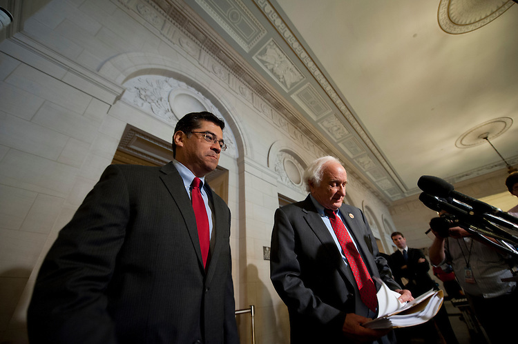 UNITED STATES - June 27: House Ways and Means Democrats, Rep. Xavier Becerra, D-CA.,  and Rep. Sander Levin, D-MI., hold a press conference before the start of the committee held hearing on the IRS review of taxpayer targeting practices.   (Photo By Douglas Graham/CQ Roll Call)