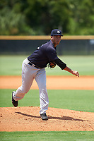 GCL Yankees East pitcher Anderson Reynoso (61) delivers a pitch during the second game of a doubleheader against the GCL Yankees West on July 19, 2017 at the Yankees Minor League Complex in Tampa, Florida.  GCL Yankees West defeated the GCL Yankees East 3-1.  (Mike Janes/Four Seam Images)