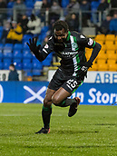16th March 2018, McDiarmid Park, Perth, Scotland; Scottish Premier League football, St Johnstone versus Hibernian; Efe Ambrose of Hibernian celebrates after scoring the opening goal in the 2nd minute