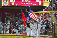 LOS ANGELES, CA - September 22, 2012:  The Navy Color Guard during the National Anthem prior to the USC Trojans vs the Cal Bears at the Los Angeles Memorial Coliseum in Los Angeles, CA. Final score USC 27, Cal 9..