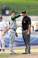 Fort Wayne TinCaps manager Anthony Contreras (10) argues with umpire Matt Cowan during the Midwest League baseball game against the West Michigan Michigan Whitecaps on April 26, 2017 at Fifth Third Ballpark in Comstock Park, Michigan. West Michigan defeated Fort Wayne 8-2. (Andrew Woolley/Four Seam Images via AP Images)