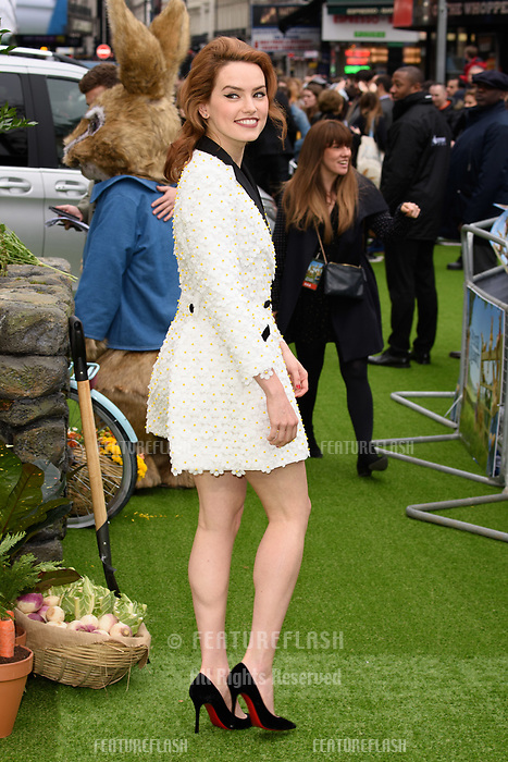 Daisy Ridley at the &quot;Peter Rabbit&quot; premiere at the Vue West End, Leicester Square, London, UK. <br /> 11 March  2018<br /> Picture: Steve Vas/Featureflash/SilverHub 0208 004 5359 sales@silverhubmedia.com