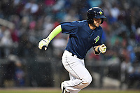 Designated hitter Michael Baez (3) of the Columbia Fireflies runs toward first in a game against the Lakewood BlueClaws on Saturday, May 6, 2017, at Spirit Communications Park in Columbia, South Carolina. Lakewood won, 1-0 with a no-hitter. (Tom Priddy/Four Seam Images)