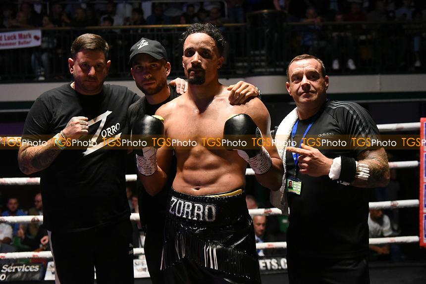 Ellis Zorro (black shorts) defeats Jan Hradzira during a Boxing Show at York Hall on 7th September 2019