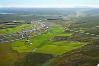 Króksstaðir séð til suðurs. Flugbraut í bakgrunni, Miðfjarðar·, Miðfjörður, Húnaþing vestra áður Ytri-Torfustaðahreppur /  Kroksstadir viewing south. Airfield in background. Midfjardara river, Midfjordur, Hunathing vestra former Ytri-Torfustadahreppur.