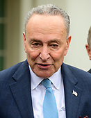 United States Senate Minority Leader Chuck Schumer (Democrat of New York) makes remarks to the press after their meeting with United States President Donald J. Trump in the Situation Room of the White House in Washington, DC in an effort to break the political impasse  on border security and reopen the federal government on Friday, January 4, 2018.  <br /> Credit: Ron Sachs / CNP