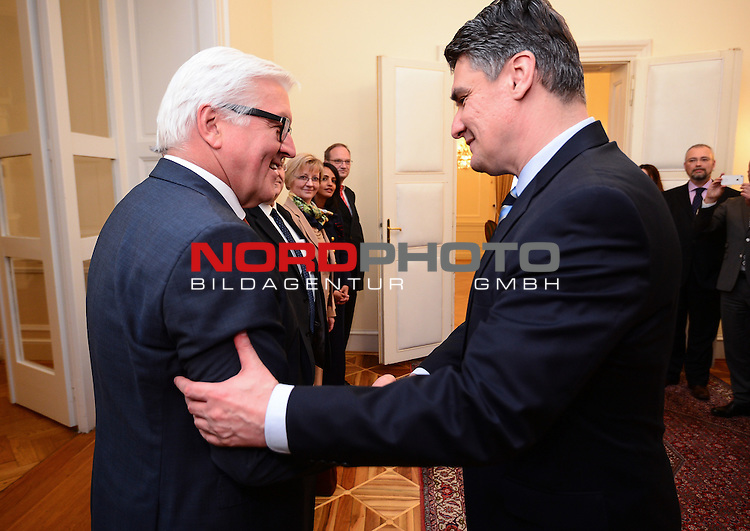 30.04.2015., Zagreb, Croatia - German Foreign Minister Frank Walter Steinmeier during his visit to Croatia met with prime minister Zoran Milanovic. <br /> <br /> Foto &copy;  nph / PIXSELL / Marko Prpic