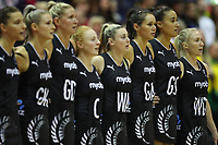 19.01.2019 Silver Ferns Laura Longman sings their National anthem during the Silver Ferns v Australia netball test match at The Copper Box Arena. Mandatory Photo Credit ©Michael Bradley Photography/Christopher Lee
