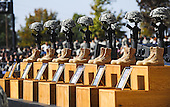 Fort Hood, TX - November 10, 2009 -- The Soldiers Cross, boots, rifles and helmets, sit on the podium at the memorial service for the 12 soldiers and one civilian killed at Fort Hood U.S Army Post near Killeen, Texas, USA 10 November 2009. Army Major Malik Nadal Hasan reportedly shot and killed 13 people, 12 soldiers and one civilian, and wounded 30 others in a rampage 05 November at the base's Soldier Readiness Center where deploying and returning soldiers undergo medical screenings.  .Credit: Tannen Maury / Pool via CNP