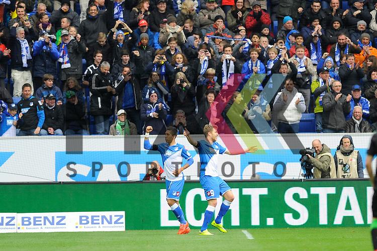 Torjubel von Hoffenheims Roberto Firmino (Nr.10) und rechts der Torschuetze Hoffenheims Sven Schipplock (Nr.9)  im Spiel der Bundesliga, TSG 1899 Hoffenheim - Borussia Moenchengladbach.<br /> <br /> Foto &copy; P-I-X.org *** Foto ist honorarpflichtig! *** Auf Anfrage in hoeherer Qualitaet/Aufloesung. Belegexemplar erbeten. Veroeffentlichung ausschliesslich fuer journalistisch-publizistische Zwecke. For editorial use only.