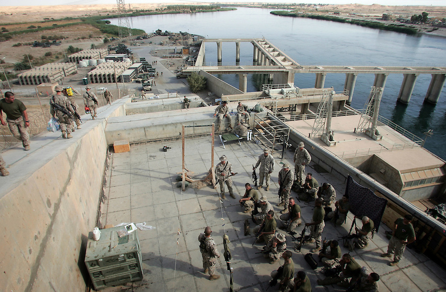 The Marines of 3rd Battalion 1st Marines (3/1) settle into their new home at Haditha Dam - a hydroelectric facility on the outskirts of Haditha, Iraq on Wed. 28, 2005. The dam, which provides a large amount of the electricity used in western and central Iraq is located in the country's restive Al-Anbar province.