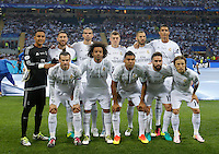 Calcio, finale di Champions League: Real Madrid vs Atletico Madrid. Stadio San Siro, Milano, 28 maggio 2016.<br /> Real Madrid's players, front row from left, Gareth Bale, Marcelo, Casemiro, Dani Carvajal, Luka Modric; back row, from left, Keylor Navas, Sergio Ramos, Pepe, Toni Kroos, Karim Benzema and Cristiano Ronaldo pose prior to the start of  the Champions League final match between Real Madrid and Atletico Madrid, at Milan's San Siro stadium, 28 May 2016.<br /> UPDATE IMAGES PRESS/Isabella Bonotto
