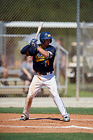 Morgan Colopy during the WWBA World Championship at the Roger Dean Complex on October 18, 2018 in Jupiter, Florida.  Morgan Colopy is an outfielder from Centerville, Ohio who attends Centerville High School and is committed to Cincinnati.  (Mike Janes/Four Seam Images)