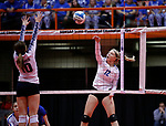 November 22, 2019; Rapid City, SD, USA; Kendyle Anderson #12 of Warner vs Bobbi Jo Wischmann #10 of Burke at the 2019 South Dakota State Volleyball Championships at the Rushmore Plaza Civic Center in Rapid City, S.D. (Richard Carlson/Inertia)