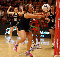 27.10.2013 Silver Fern Cathrine Latu in action during the Silver Ferns V Malawi New World Netball Series played at the Pettigrew Green Arena in Napier. Mandatory Photo Credit ©Michael Bradley.