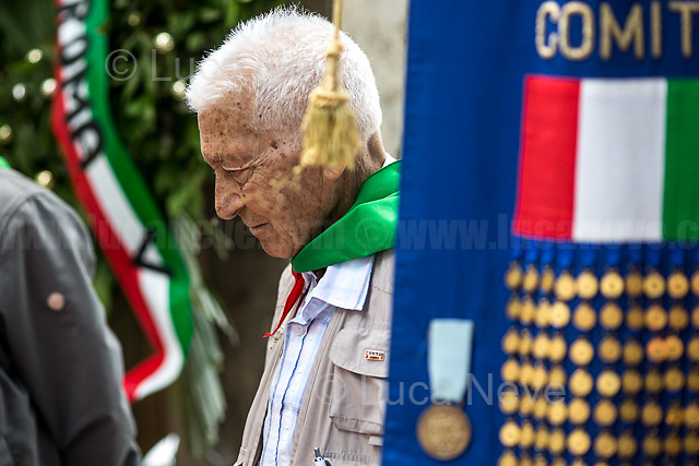 """Arnaldo """"Nando"""" Cavaterra (Antifascist Partizan. Member of the Partigiani: the Italian Resistance during WWII).<br /> <br /> Rome, 04/06/2018. On 4 June 1944 the American forces took possession of Rome, that Day will be remembered as the """"Liberazione di Roma"""". Today, to mark the 74th Anniversary of that day, Rome celebrates one of his most popular areas and """"Quartiere simbolo della Resistenza"""" (District symbol of the Resistance), Centocelle (Municipio V - https://bit.ly/2esBcBX), confering the State Gold Medal (for Civil Merit) for its Antifascist Resistance."""