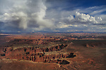 Monument Basin from Grand View Point Overlook in the afternoon, Canyonlands National Park, Utah, USA.<br />