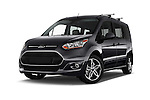 Stock pictures of low aggressive front three quarter view of 2016 Ford Transit Connect Titanium 5 Door Mini Mpv Low Aggressive