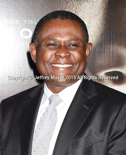 WESTWOOD, CA - NOVEMBER 23:Dr. Bennet Omalu attends the screening of Columbia Pictures' 'Concussion' at the Regency Village Theater on November 23, 2015 in Westwood, California.