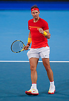 4th January 2020; RAC Arena, Perth, Western Australia; ATP Cup Australia, Perth, Day 2; Spain versus Georgia Rafael Nadal of Spain reacts to his shot against Nikoloz Basilashvili of Georgia - Editorial Use
