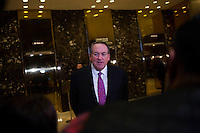 Former Governor Mike Huckabee (Republican of Arkansas) speaks to members of the media inside of the lobby of Trump Tower in Manhattan, New York, U.S., on Friday, November 18, 2016. <br /> Credit: John Taggart / Pool via CNP /MediaPunch