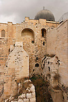 Israel, Jerusalem Archaeological Park, a view of wall behind Al Aqsa Mosque as seen from the Crusader Tower<br />