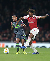 Arsenal's Alex Iwobi and Sporting CP's Bruno Gaspar<br /> <br /> Photographer Rob Newell/CameraSport<br /> <br /> UEFA Europa League Group E - Arsenal v Sporting CP - Thursday 8th November 2018 - Arsenal Stadium - London<br />  <br /> World Copyright © 2018 CameraSport. All rights reserved. 43 Linden Ave. Countesthorpe. Leicester. England. LE8 5PG - Tel: +44 (0) 116 277 4147 - admin@camerasport.com - www.camerasport.com