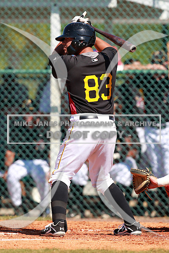 Pittsburgh Pirates minor league catcher Tony Sanchez (83) vs. the Philadelphia Phillies in an Instructional League game at Pirate City in Bradenton, Florida;  October 5, 2010.  Photo By Mike Janes/Four Seam Images