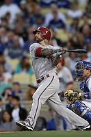 Ryan Roberts #14 of the Arizona Diamondbacks bats against the Los Angeles Dodgers at Dodger Stadium on May 14, 2012 in Los Angeles,California. Los Angeles defeated Arizona 3-1.(Larry Goren/Four Seam Images)